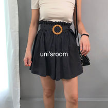 Short Casual Style Linen Plain Khaki Co-ord Shorts