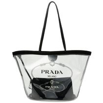PRADA CANAPA Casual Style A4 Crystal Clear Bags PVC Clothing Logo Totes