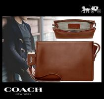 Coach ROGUE Street Style Plain Leather Clutches