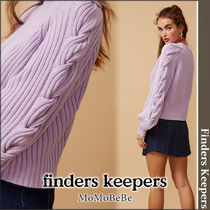 Finders Keepers Cable Knit Casual Style Long Sleeves Cotton Medium High-Neck