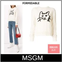 MSGM Crew Neck Cable Knit Casual Style Long Sleeves