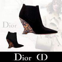 Christian Dior Suede Plain Elegant Style Wedge Boots
