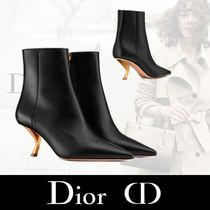 Christian Dior Sheepskin Bi-color Plain Pin Heels Elegant Style