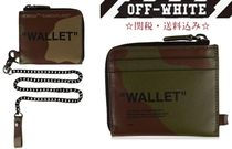 Off-White Camouflage Street Style Chain Leather Coin Cases