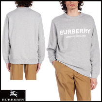 Burberry Crew Neck Long Sleeves Plain Cotton Sweatshirts