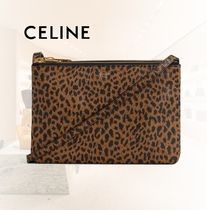 CELINE Trio Bag Leopard Patterns Leather Shoulder Bags