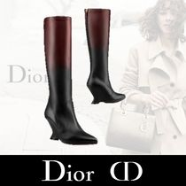 Christian Dior Plain Toe Bi-color Plain Leather Elegant Style Bold