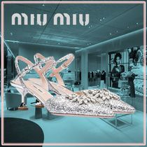 MiuMiu Plain Pin Heels With Jewels Pointed Toe Pumps & Mules