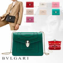 Bvlgari Casual Style Chain Plain Leather Shoulder Bags