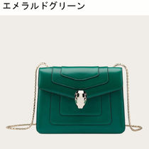 Bvlgari Casual Style Chain Plain Leather Crossbody Shoulder Bags