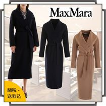 MaxMara Wool Plain Long Midi Elegant Style Chester Coats