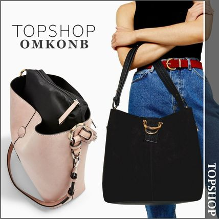 Casual Style Faux Fur Oversized Shoulder Bags