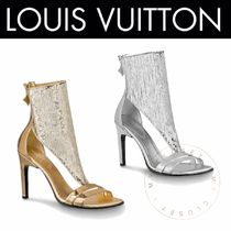 Louis Vuitton Open Toe Blended Fabrics Plain Leather Pin Heels With Jewels