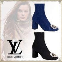 Louis Vuitton Square Toe Plain Leather Elegant Style Ankle & Booties Boots