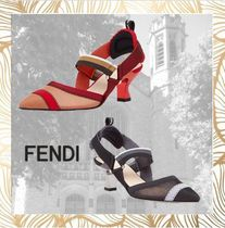 FENDI Blended Fabrics Kitten Heel Pumps & Mules
