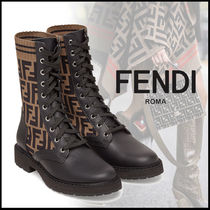 FENDI Monogram Plain Toe Rubber Sole Casual Style Leather