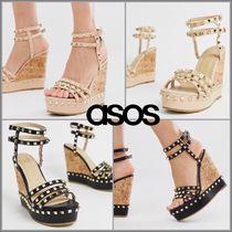 ASOS Open Toe Casual Style Faux Fur Studded