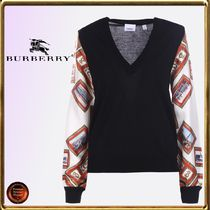 Burberry Wool V-Neck Long Sleeves Elegant Style Sweaters