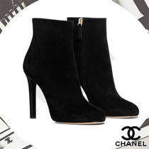CHANEL Plain Toe Plain Leather Pin Heels Ankle & Booties Boots