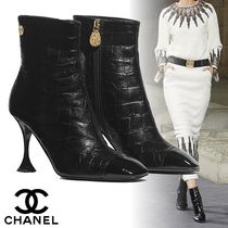 CHANEL Square Toe Other Animal Patterns Leather Elegant Style