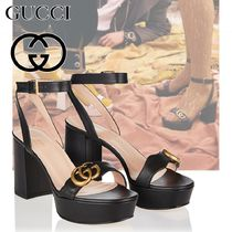 GUCCI Platform Round Toe Casual Style Street Style Plain Leather
