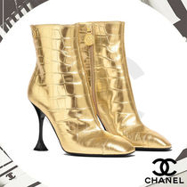 CHANEL Other Animal Patterns Leather Ankle & Booties Boots