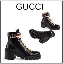 GUCCI Leather Block Heels Ankle & Booties Boots