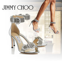 Jimmy Choo Open Toe Plain Leather Party Style Peep Toe Pumps & Mules
