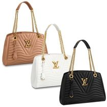 Louis Vuitton Blended Fabrics A4 Chain Plain Leather Elegant Style Totes