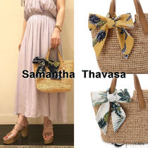 Samantha Thavasa Tropical Patterns Leather Straw Bags