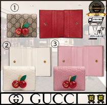 GUCCI GG Supreme Unisex Street Style Folding Wallets