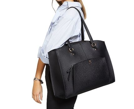 Saffiano Studded A4 Plain Office Style Oversized Totes