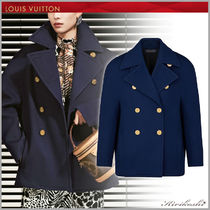 Louis Vuitton Short Wool Plain Office Style Oversized Peacoats