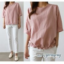 Casual Style Puffed Sleeves Medium Shirts & Blouses