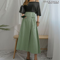Flared Skirts Plain Cotton Long Office Style Maxi Skirts