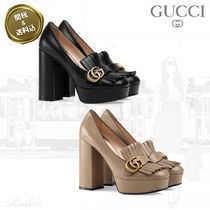 GUCCI Platform Plain Leather Fringes Elegant Style