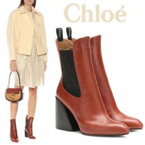 Chloe Plain Leather Block Heels Chelsea Boots Elegant Style