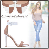 Gianvito Rossi Open Toe Casual Style Bi-color Leather Pin Heels