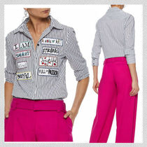 Alice+Olivia Stripes Casual Style Cropped Cotton Medium Shirts & Blouses