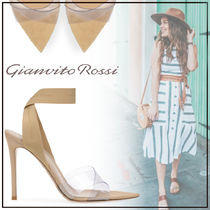 Gianvito Rossi Open Toe Suede Plain Pin Heels Elegant Style Heeled Sandals