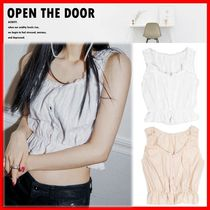 OPEN THE DOOR Casual Style Street Style Cotton Short Sleeves