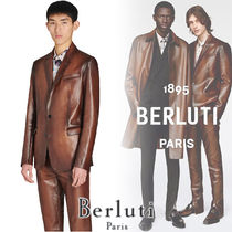 Berluti Street Style Plain Leather Biker Jackets