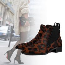 Christian Louboutin Leopard Patterns Leather Elegant Style Ankle & Booties Boots