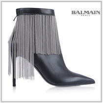 BALMAIN Plain Leather Pin Heels Elegant Style Ankle & Booties Boots