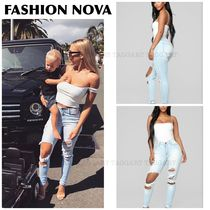 FASHION NOVA Blended Fabrics Street Style Plain Cotton Long Jeans