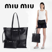 MiuMiu A4 Plain Leather Office Style Totes