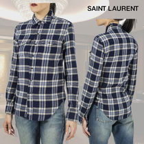 Saint Laurent SAC DE JOUR Other Check Patterns Long Sleeves Cotton Shirts & Blouses