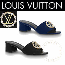 Louis Vuitton Open Toe Suede Blended Fabrics Plain Handmade With Jewels