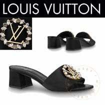 Louis Vuitton Open Toe Blended Fabrics Plain Handmade With Jewels