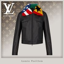 Louis Vuitton Union Jack mark Street Style Leather Biker Jackets